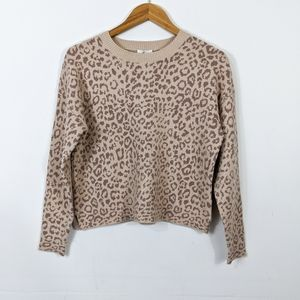 Joie Benin Crew Sweater Light Taupe Animal Print
